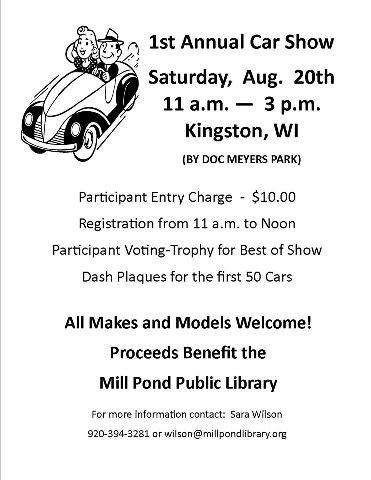 St Annual Car Show Mill Pond Public Library - Car show trophies dash plaques