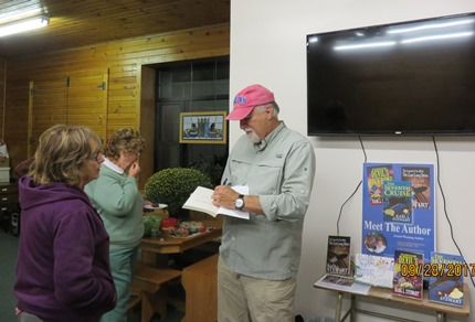.Author Karl Stewart gave a presentation at the Kingston Library last Thursday.  Afterwards Mr. Stewart was more than happy to autograph a book for Betty Kastenschmidt.