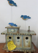 #40 Bluebird Caboose House with 2 Birds by Kathy Scheier